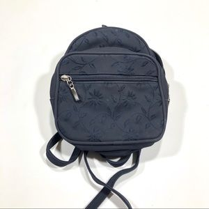 Vintage Navy Blue Mini Floral Backpack